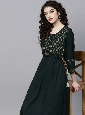 Green Printed Viscose Party Wear Kurti