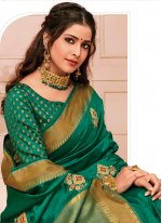 Green Raw Silk Embroidered Designer Traditional Saree