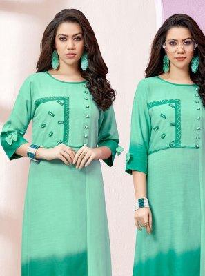 Green Rayon Designer Kurti