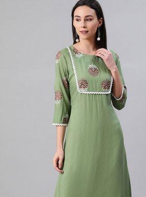 Green Rayon Fancy Party Wear Kurti