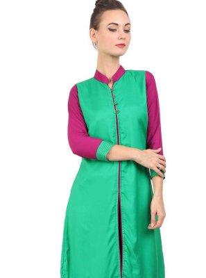 Green Rayon Festival Party Wear Kurti