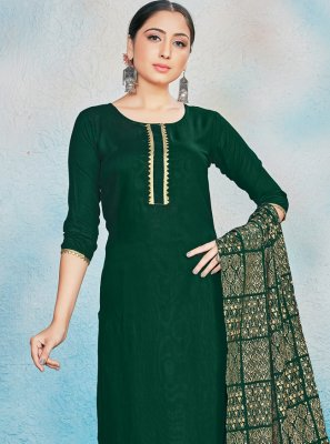 Green Rayon Foil Print Readymade Suit