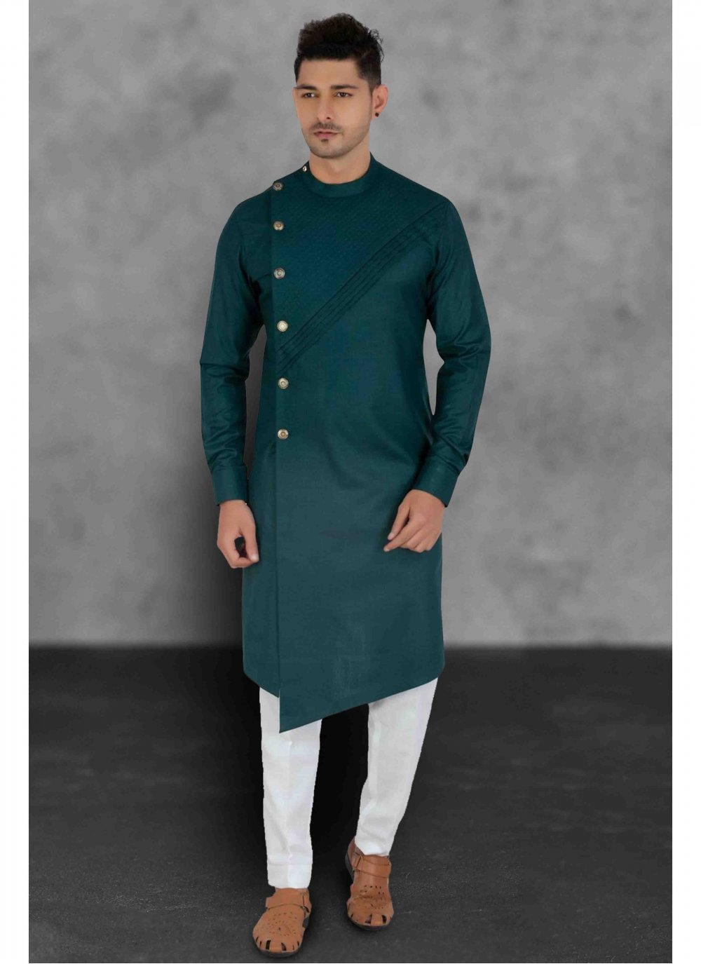 Green Reception Cotton Kurta Pyjama