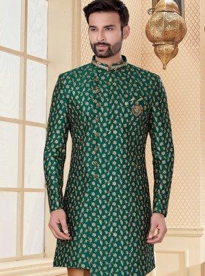 Green Reception Jacquard Indo Western