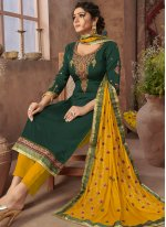 Green Resham Ceremonial Pant Style Suit