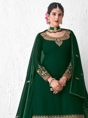 Green Resham Faux Georgette Designer Kameez Style Lehenga Choli