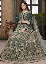 Green Resham Faux Georgette Floor Length Anarkali Suit