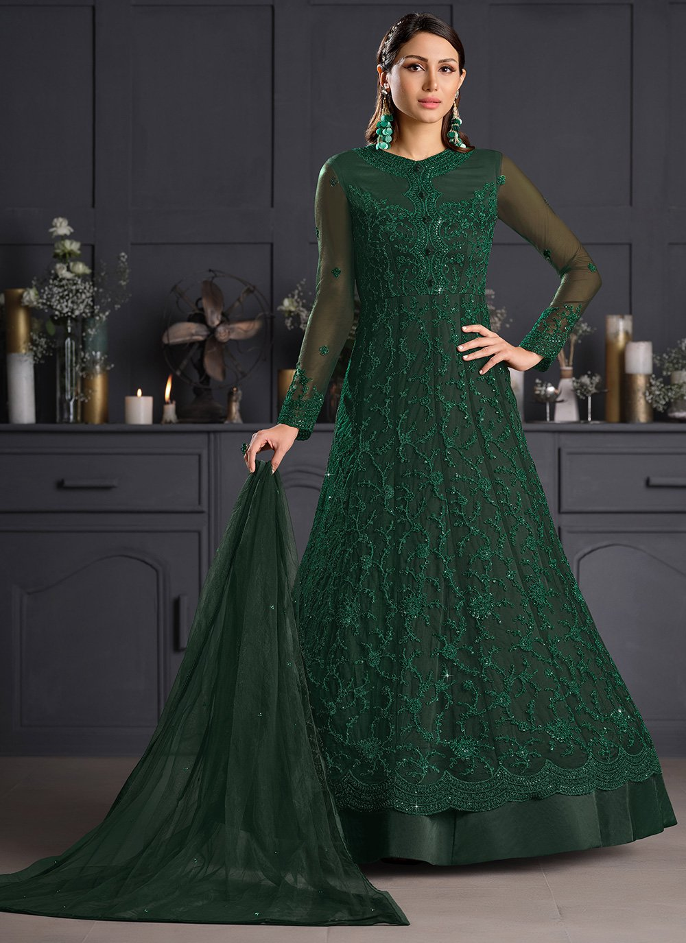 Green Resham Net Bollywood Salwar Kameez