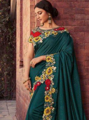 Green Resham Sangeet Designer Saree