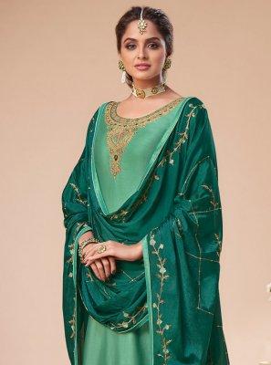 Green Resham Silk Pant Style Suit