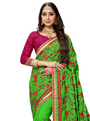 Green Resham Traditional Saree