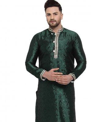 Green Sangeet Banarasi Silk Kurta Pyjama