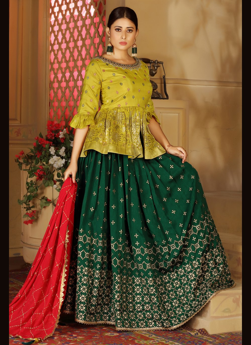 Green Sangeet Readymade Lehenga Choli