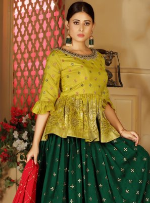 Green Sangeet Readymade Lehenga Choli