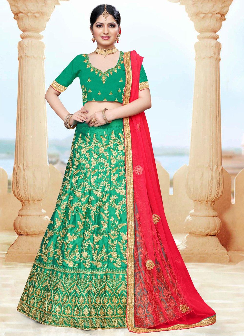 Green Sangeet Silk Lehenga Choli