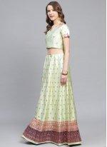 Green Satin Designer Lehenga Choli