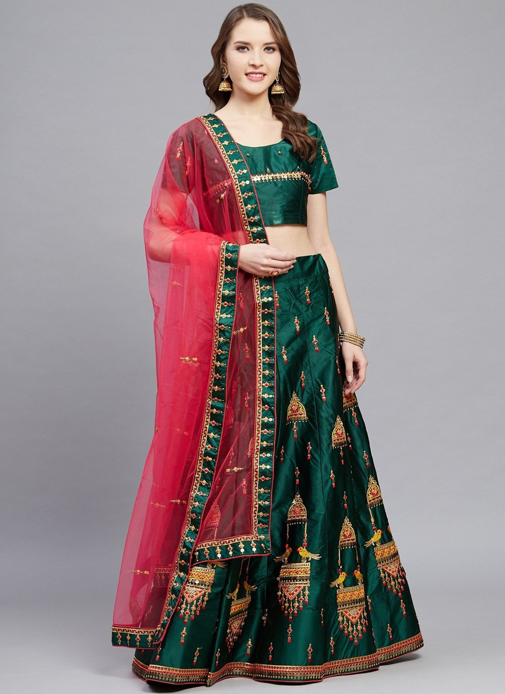 Green Satin Embroidered Designer Lehenga Choli