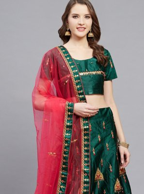 Green Satin Embroidered Designer Lehenga Choli
