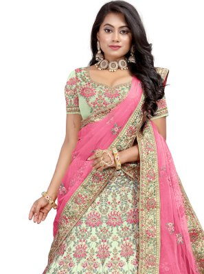 Green Satin Lehenga Choli