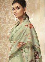 Green Satin Silk Embroidered Designer Palazzo Suit