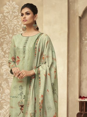 Green Satin Silk Embroidered Designer Palazzo Suit