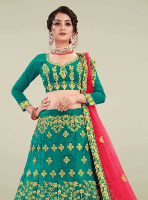 Green Satin Silk Sangeet A Line Lehenga Choli