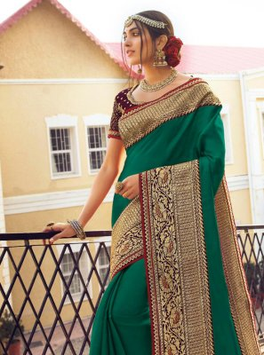 Green Satin Silk Traditional Saree