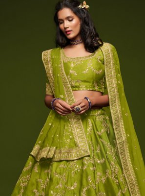 Green Sequins Art Silk Lehenga Choli