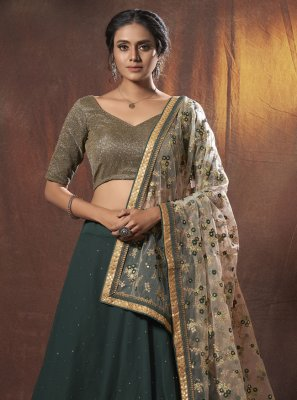 Green Sequins Lehenga Choli