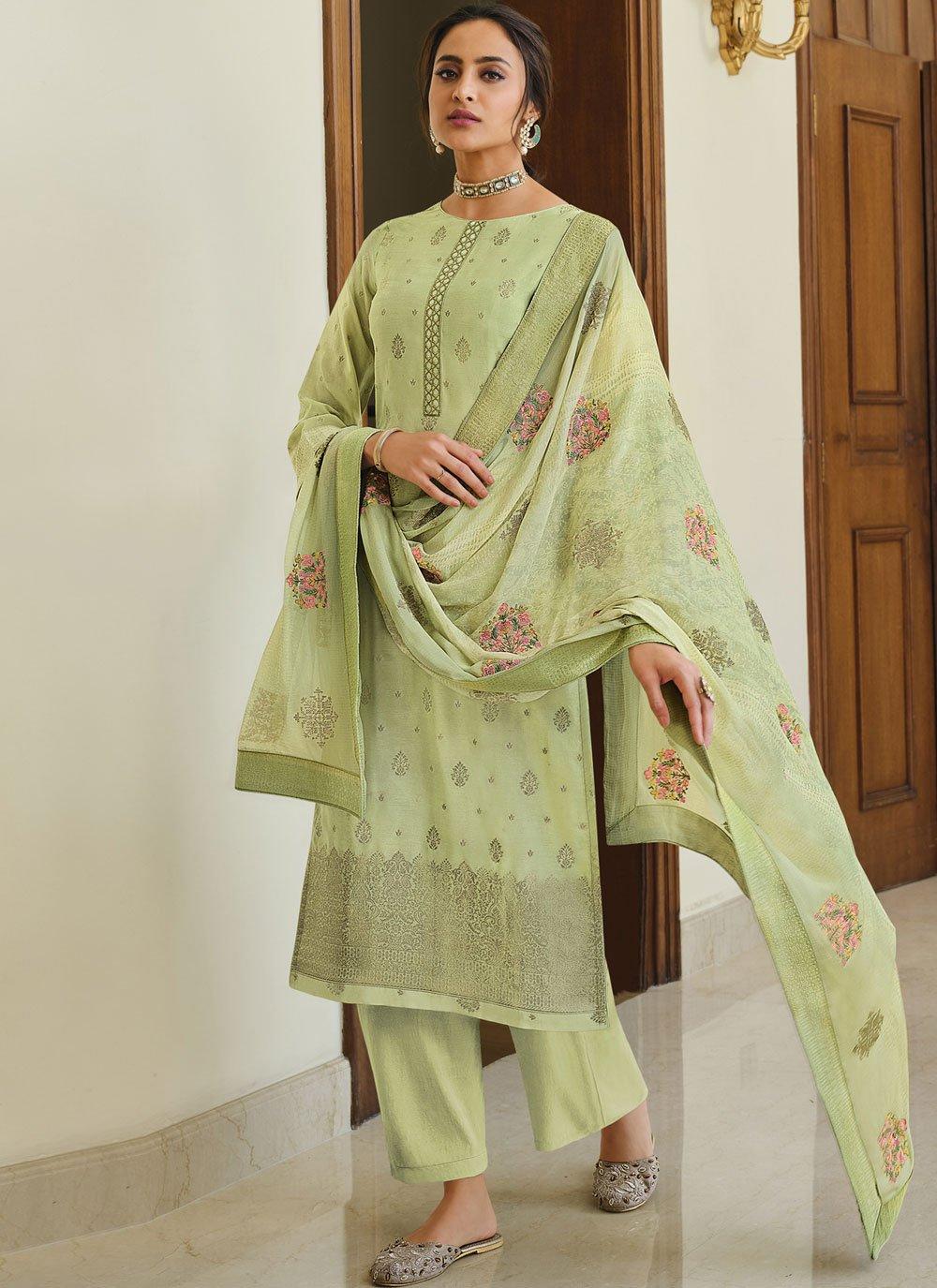 Green Silk Designer Palazzo Suit