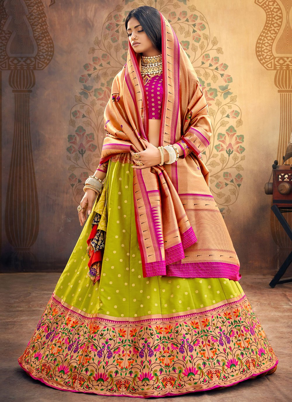 Green Silk Engagement Lehenga Choli