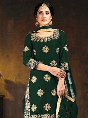 Green Silk Festival Designer Patiala Suit