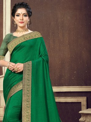 Green Silk Lace Traditional Saree