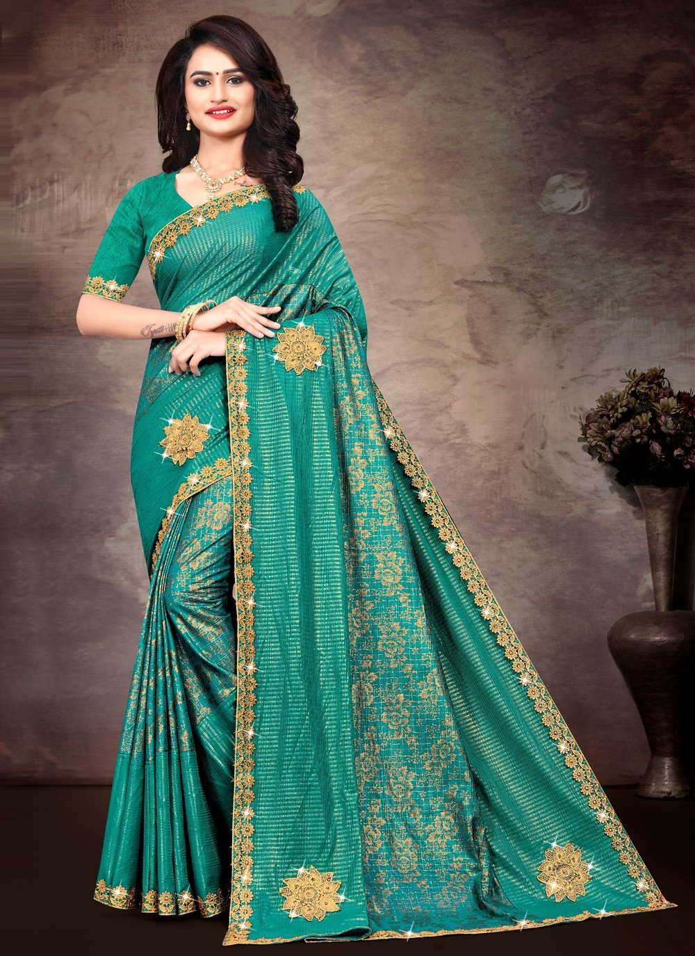 Green Silk Lace Trendy Saree