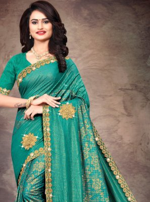 Green Silk Lace Trendy Saree