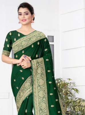 Green Silk Patch Border Traditional Designer Saree