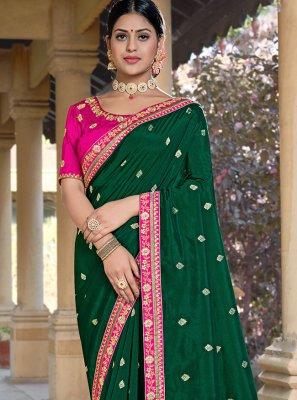 Green Silk Weaving Designer Traditional Saree
