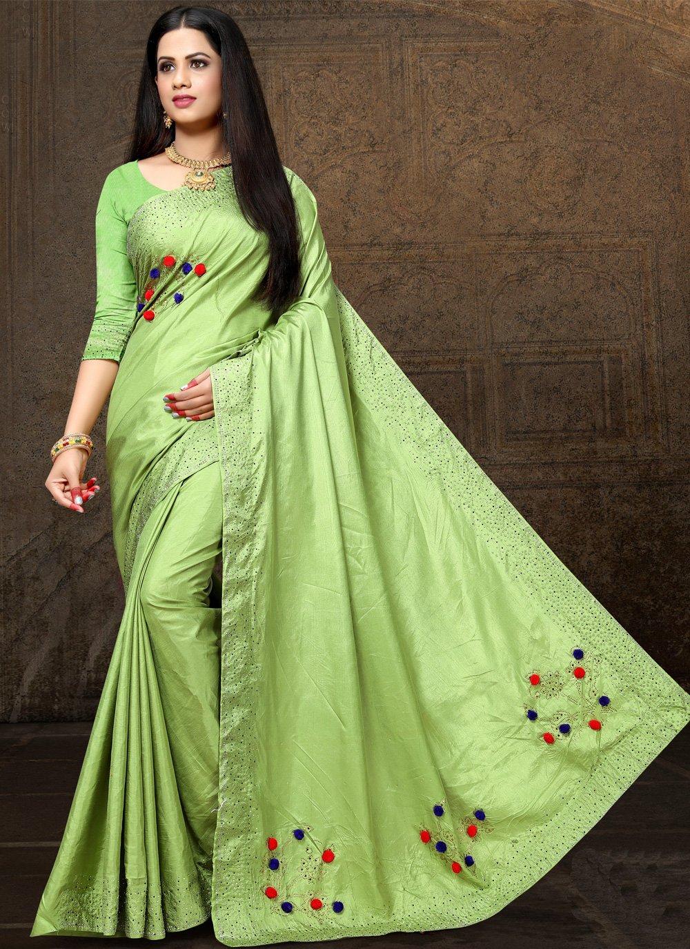 Green Stone Designer Saree