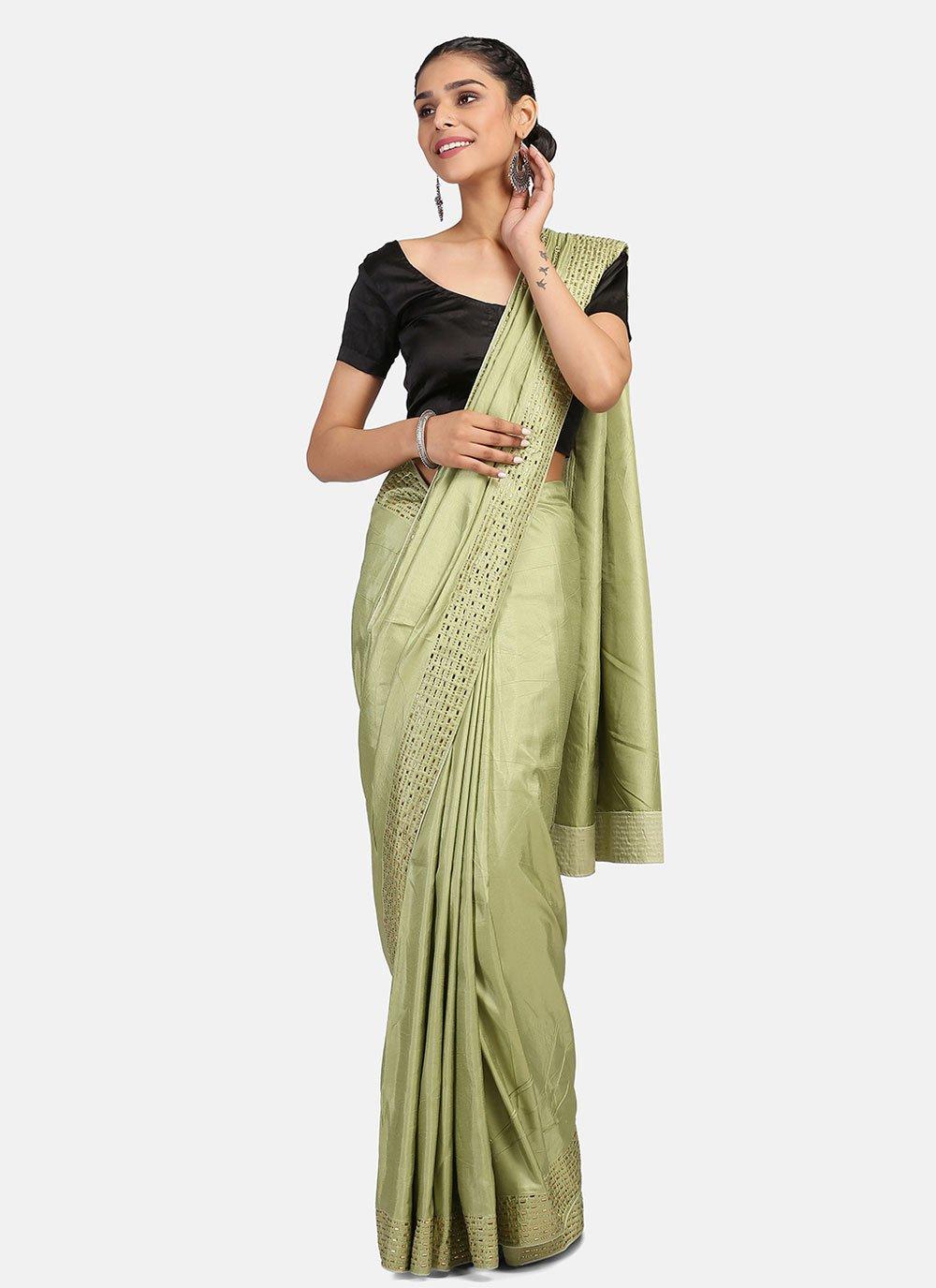 Green Stone Work Classic Designer Saree