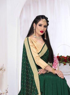 Green Swarovski Classic Saree