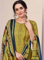 Green Swarovski Cotton Designer Palazzo Salwar Kameez