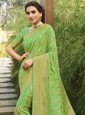 Green Swarovski Silk Traditional Designer Saree