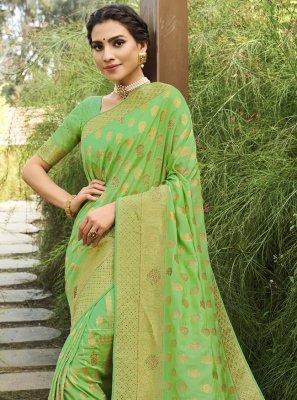 Green Swarovski Silk Traditional Designer Saree