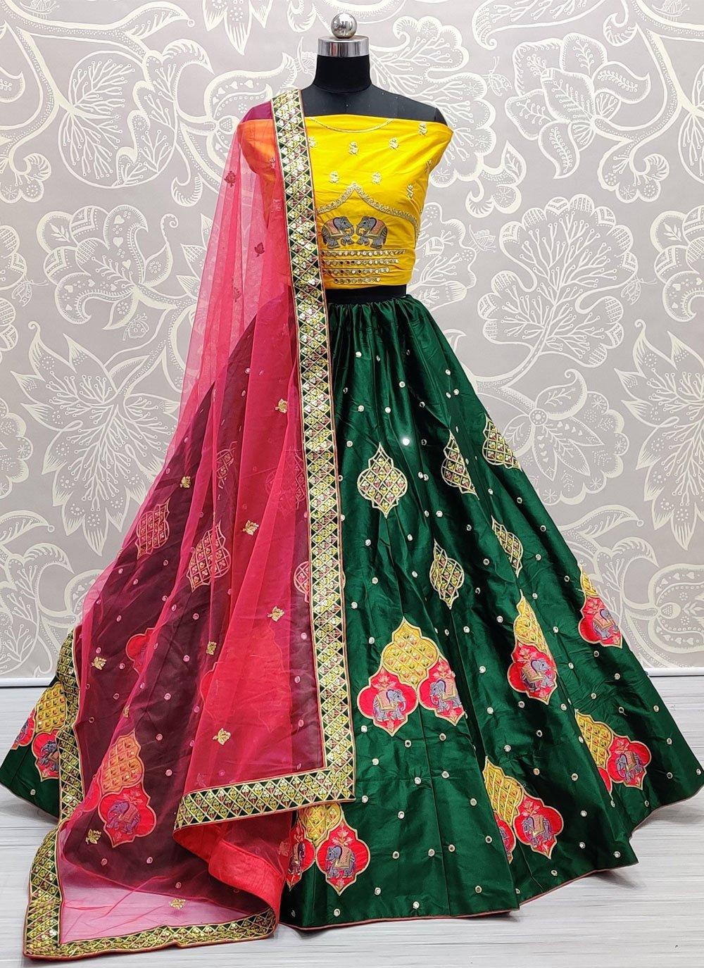 Green Thread Mehndi Lehenga Choli