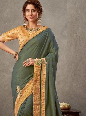 Green Tussar Silk Embroidered Classic Designer Saree