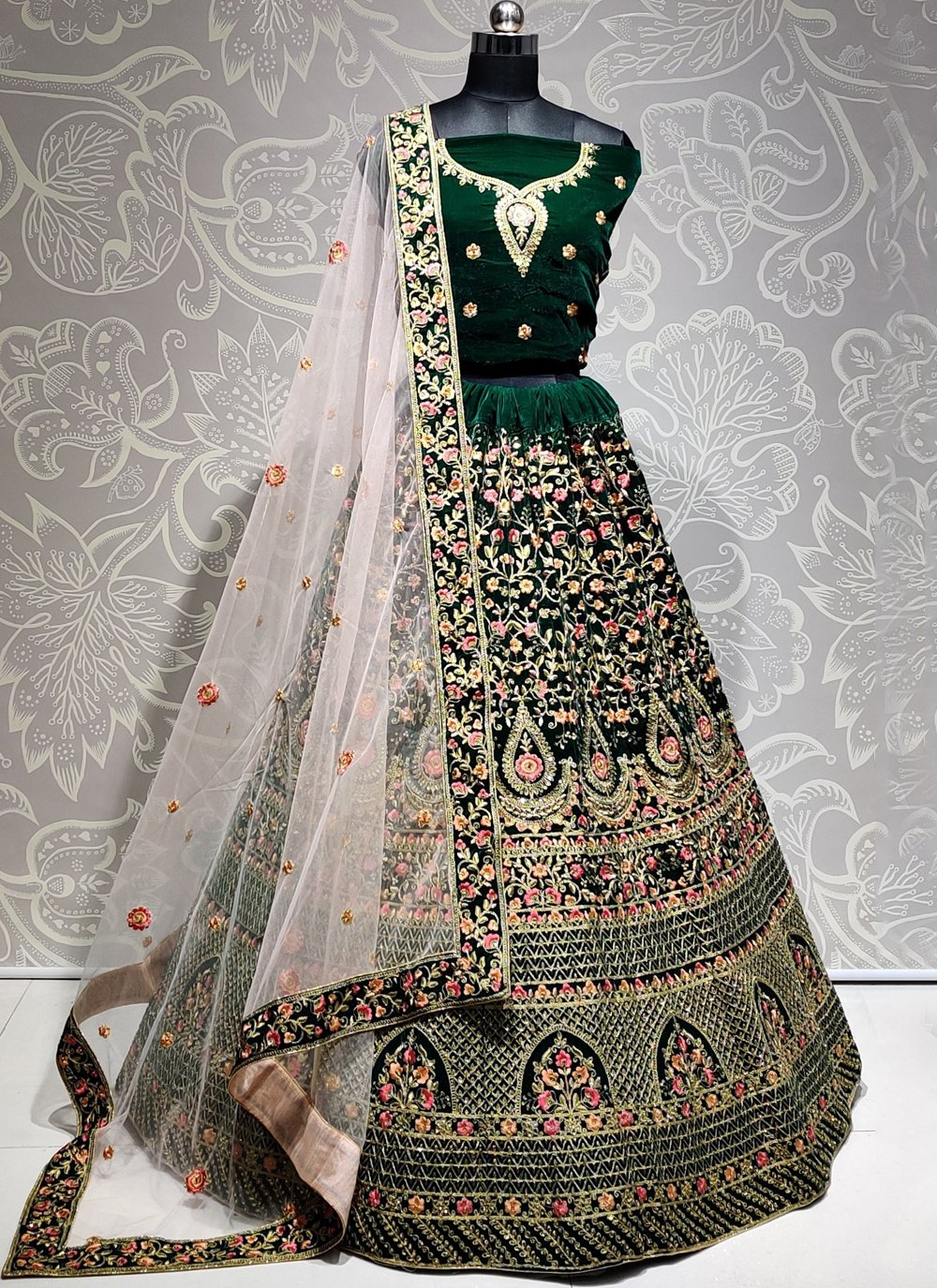 Green Velvet Engagement A Line Lehenga Choli