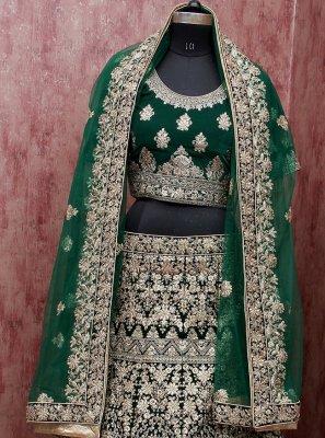 Green Velvet Lehenga Choli