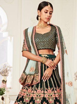 Green Velvet Trendy Lehenga Choli