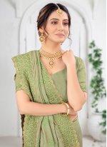 Green Vichitra Silk Mehndi Silk Saree