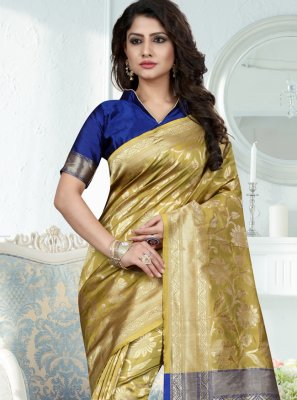 Green Weaving Art Banarasi Silk Traditional Designer Saree